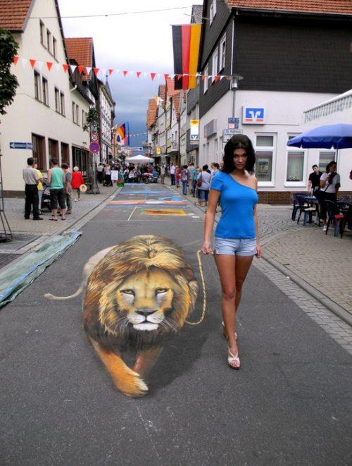 Девушки: Уличное 3-D граффити (41 фото)