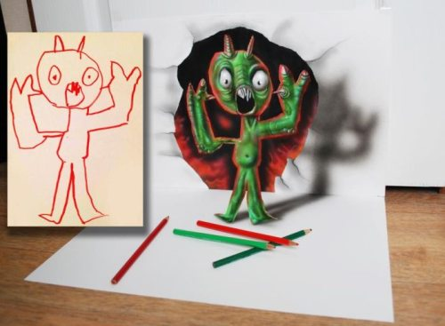 Девушки: Карандашные 3D картинки